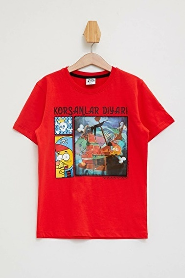 DeFacto Hologram Kral Şakir T-shirt Kırmızı